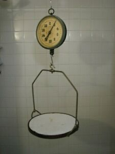 VINTAGE NEW YORK SCALE CO HANGING SCALE w PORCELAIN TRAY  PRODUCE SCALE 20 lbs