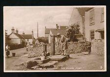 Somerset WESTON IN GORDANO getting water from Village Pump Tuck 1928 RP PPC