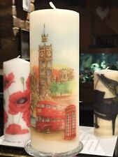 LONDON In WATERCOLOUR Hand Decorated Pillar Candle 90hrs 18x6.5cm