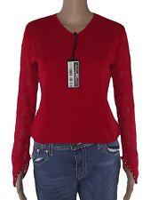 maglioncino maglia donna rosso lana merinos made italy taglia m medium