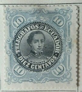 EQUATEUR 1897. Télégraphe 10 Cents bleu pale Revenu Fiscal Tax Postage Due. Neuf