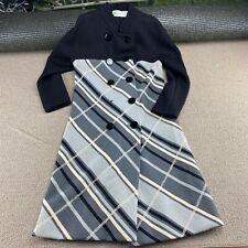 Gino Paoli Dress Made in Italy 100% Wool Black Gray Sz 10 Striped Chic VTG