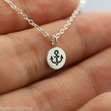 TINY ANCHOR NECKLACE - 925 Sterling Silver Anchor Pendant Nautical Jewelry Navy