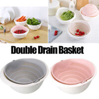 Detachable Double Drain Basket Bowl Vegetable Fruit Washing Gadgets Portable