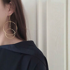 14K Yellow Gold Plated Round Large Hoop Dangle Drop Fashion Earrings 073