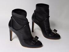 Salvatore ferragamo shoes heels bootie black leather Fimeny Acm 9.5