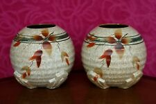 Pair of 1930s English Art Deco Hand Painted Flower Vase