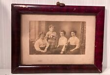 """Vintage Wooden Painted 4.5"""" x 6.25"""" Picture Photo Frame Hanging w German Relativ"""