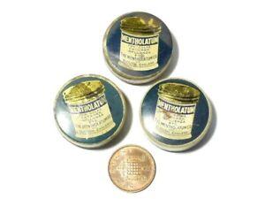 3 x Antique SAMPLE Advertising Tins Mentholatum Chemist Apothecary Slough