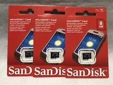 Brand New 3 SanDisk 8GB Micro SD Card