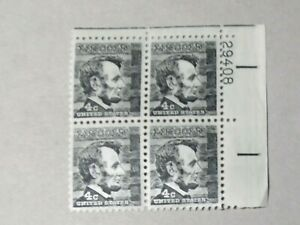 SCOTT STAMP # 1282 LINCOLN 4 CENT PLATE BLOCK - MNH