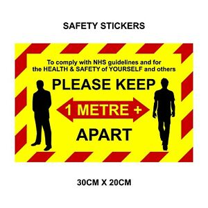 Floor Wall decals stickers 1m metre social distancing  Keep your distance shops