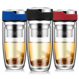 Double Glass Water Bottle Tea Bottle Transparent Bottles Stainless Steel Infuser