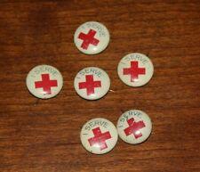 "(6) Vintage American Red Cross ""I Serve"" Pinbacks Pins World War 2 Era"