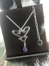 """GC NEW Guess Sterling Silver Amethyst Heart Love Adjustable Pendant Necklace 16"""""""