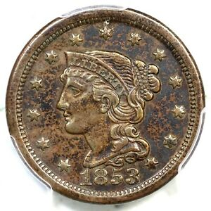1853 N-32 R-4+ PCGS XF Details Braided Hair Large Cent Coin 1c
