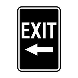 Portrait Round Exit Left Arrow Sign