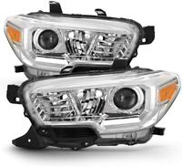 Headlights for 16-20 Toyota Tacoma Projector Chrome Clear Replacement Headlamps