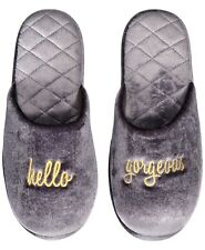 I.n.c. Hello Gorgeous Velour Scuff Slippers Gray Size MED, Large & XL