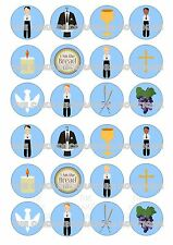 24 First Holy Communion Boy Wafer Rice Paper Cupcake Topper Edible Fairy Cake