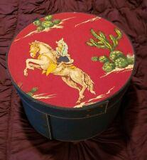 Vintage Western Denim Round Hat Box