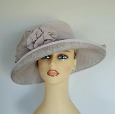 Ladies Occasion Wedding Mother Bride Races Hat Pale Taupe by Cappelli Condici