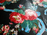"""Chintz Fabric A Ramm Hand Print Floral Ribbon Bouquet Polished Cotton BTY 56"""" UK"""