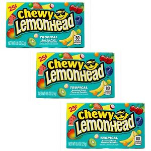 3 x Chewy Lemonhead Tropical American Hard Candy Sweets Candy Sweets 23g Boxes