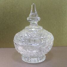 """Clear pressed glass (jam) bowl & tall cover, 5"""" vintage www"""