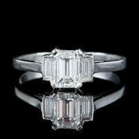 ART DECO EMERALD CUT DIAMOND TRILOGY RING PLATINUM CIRCA 1920 CERT