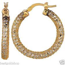 "1"" Diamond Cut Sparkle Round Mesh Hoop Earrings Real 14K White Yellow Gold 2.9gr"