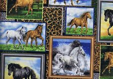 Fat Quarter Running Wild Horse Equine Pony Pictures Cotton Quilting Fabric 27831