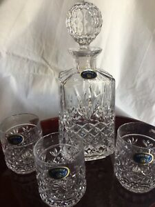 Bohemia Cut Crystal Decanter Set with 6 Whiskey Glasses