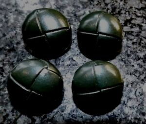 """7/8"""" 23mm DARK GREEN REAL LEATHER FOOTBALL STYLE BUTTONS SHANK BACK"""