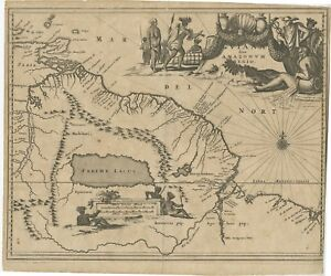 Antique Map of the Amazon River and surroundings by Ogilby (c.1672)