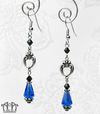 Gothic Antique Silver BLACK BLUE CRYSTAL EARRINGS Victorian Style Teardrop E04