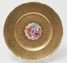 Vintage Royal Worcester Gold Plate with Hand Painted Flowers by Freeman