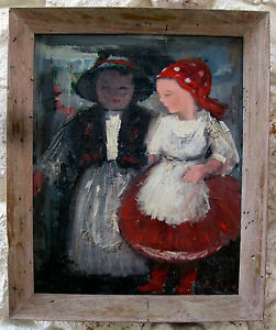 Original Painting by Bertalan Bodnar of Two Children A Hungarian Artist – Signed