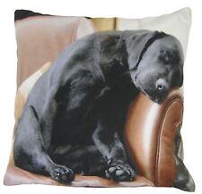 """EVANS LICHFIELD SLEEPING BLACK LABRADOR PUPPY DOG MADE IN UK CUSHION 43CM - 17"""""""