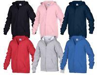 Gildan Children's Kids Zipped Hooded Sweatshirt Jumper Pullover