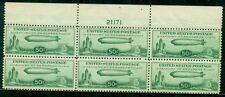 US #C18 50¢ Zeppelin, Plate No. Block of 6, og, NH PF certificate, Scott $700.00