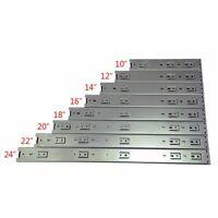 "10""-24"" Full Extension 100lb Ball Bearing Drawer Slides Rear/Side Mount + Screws"