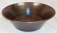 """15"""" Round Hand Hammered Copper CAZO Vessel Vanity Sink"""
