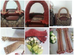 "Handle purse Cover Crochet Handbag Mini bag  Natural Cotton 10"""
