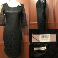 AMALIE & AMBER NWT BLACK LACE MIDI COCKTAIL PARTY DRESS Size 10 / 34""