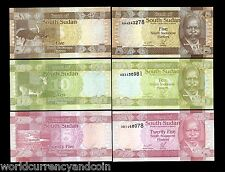 South SUDAN 5 10 25 PIASTERS ANIMAL 2011 UN ISSUED SET ERROR UNC MONEY NEW NOTES