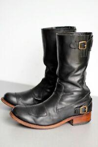 Botas biker SENDRA ( Black Leather Motorcycle Racer Boots) EU 43 / UK 9