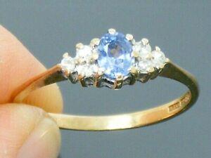 9ct Gold Vintage Ceylon Sapphire & Diamond Cluster Ring size N