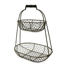 Vintage Chicken Wire 2 Tier Fruit Display Basket Restaurant Snack Service Basket