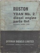 RUSTON YDA MK2 & YDAN MK2 SERIES DIESEL ENGINE ORIGINAL FACTORY PARTS CATALOGUE